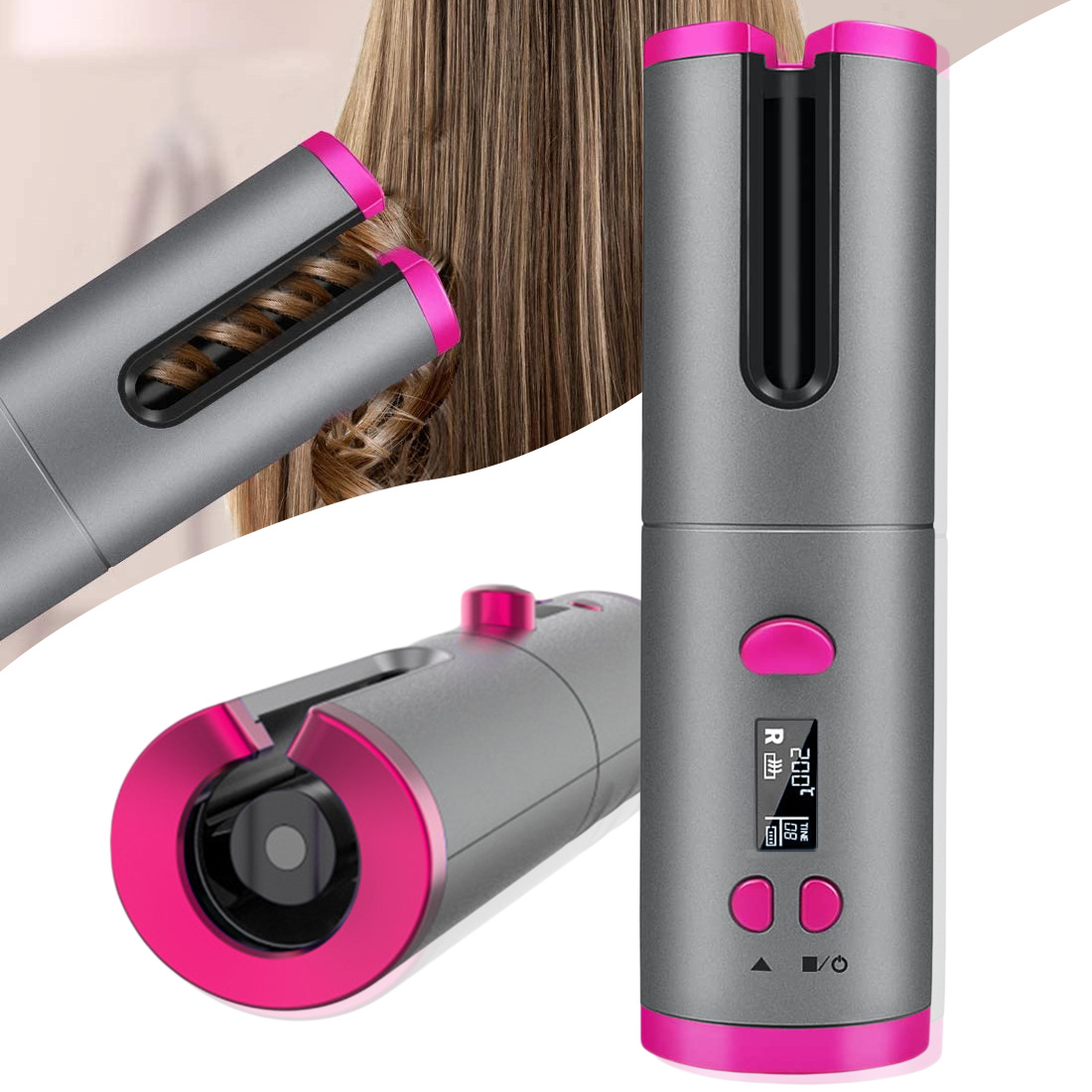 Unbound automatic hair curler curling iron wireless Cordless USB Rechargeable LED Temperature Display Ceramic Wave hair crimper image