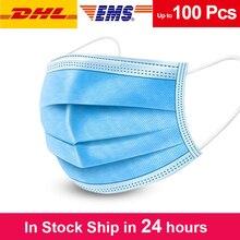 10/90 Pcs Beschermende Gezichtsmaskers Wegwerp 3 Lagen Melt Blown Stof Ademend Masker Anti Beschermende Stofdicht Masker