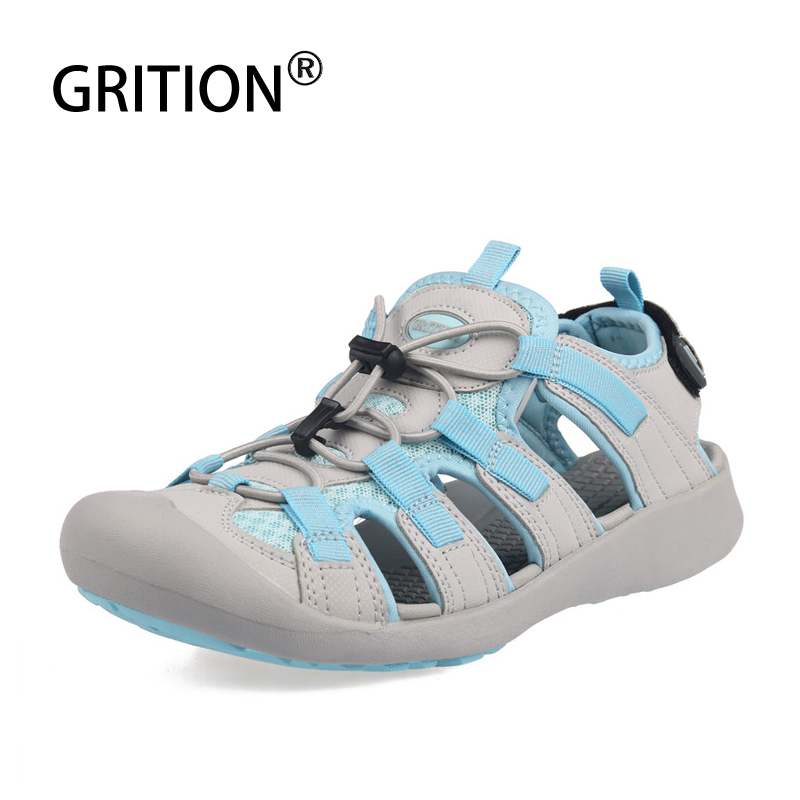 GRITION Women Protective Toe Outdoor Sandals Casual Breathable Summer Beach Shoes Anti-skid Lightweight Hiking Trekking Sandals