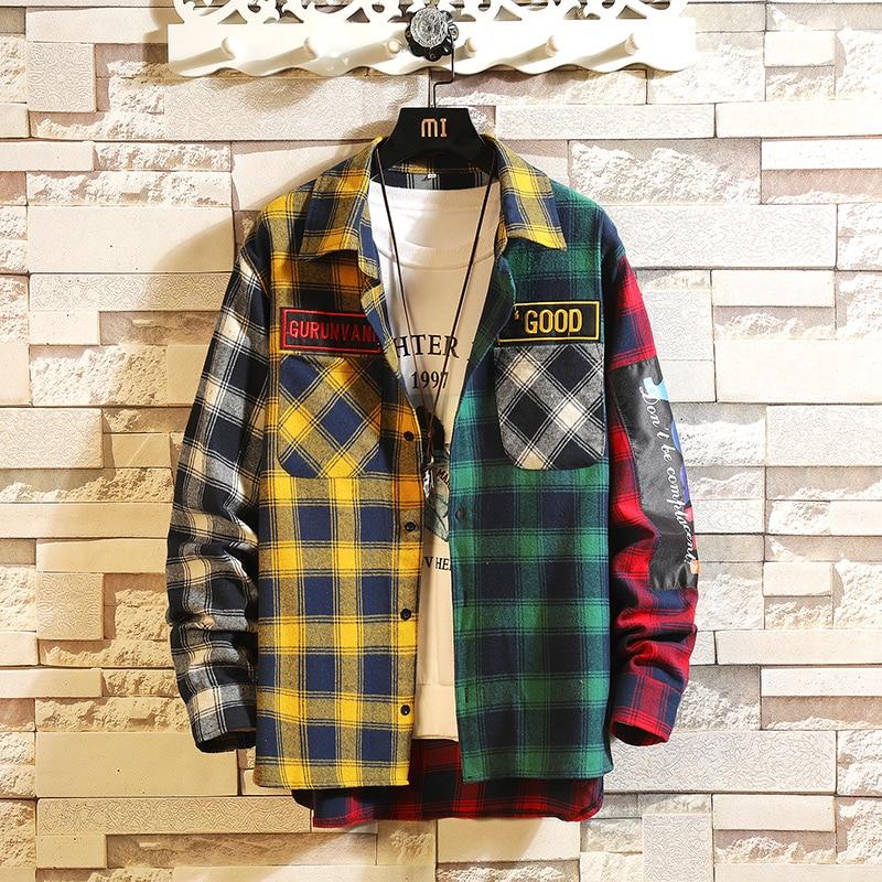 Plaid Men Long Sleeve Shirt Loose Japanese Streetwear Fashion 2019 Casual Shirts Plus Asian Size M-5XL