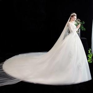 Image 4 - Fashion simple V Neck Backless Wedding Dress 2020 New Arrvial long sleeve train 100 cm Applique princess Brida Robe De Mariee