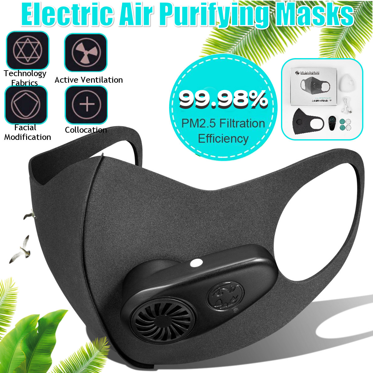 Smart Electric Face Dust Mask Air Purifying N95 Anti Dust Pollution PM2.5 With Breathable Valve Workplace Safe Fresh Air Supply