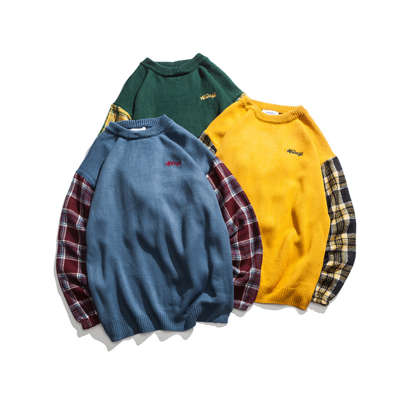 Brand Sweater 2019 Plaid Round Neck Pullover Sweater Male Loose Casual Men'S Sweater Yellow Green Blue Men Knitted Sweater