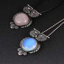 Unisex Men Women Owl Pendant Necklace Natural Opal Crystal Tiger Eyes Stone BOHO Necklaces Fashion Sweater Necklace Jewelry Gift special new fashion opal maxi necklace romantic waterdrop necklaces