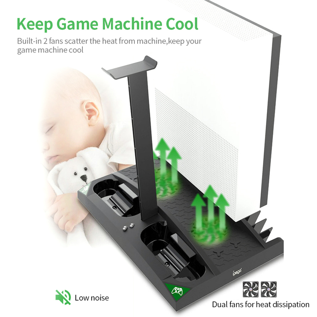 IPEGA Game Vertical Stand 6 in 1 Multifunctional Cooling Fan Headphone Holder Charging Base for XBOX ONE/XBOX ONE X/XBOX ONE S 3