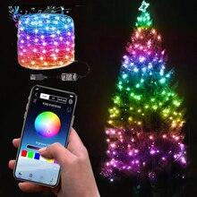 USB СВЕТОДИОДНАЯ Гирлянда для украшения рождественской елки, умная Bluetooth гирлянда для рождества, с дистанционным управлением через приложен...