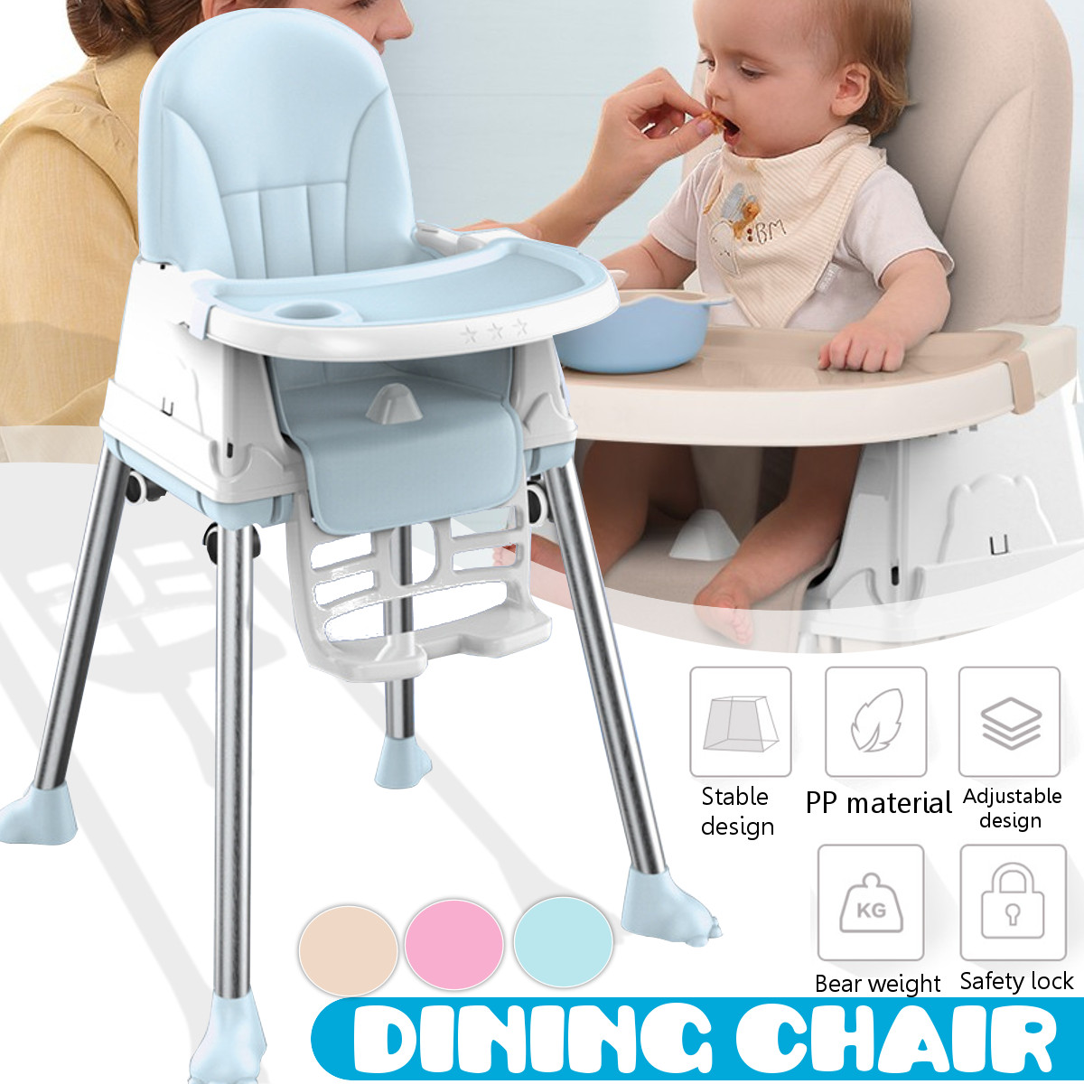 US Fast Shipping Folding Baby Dinning Highchair for Children Feeding Baby Table and Chair for Babies Toddler Booster Seat