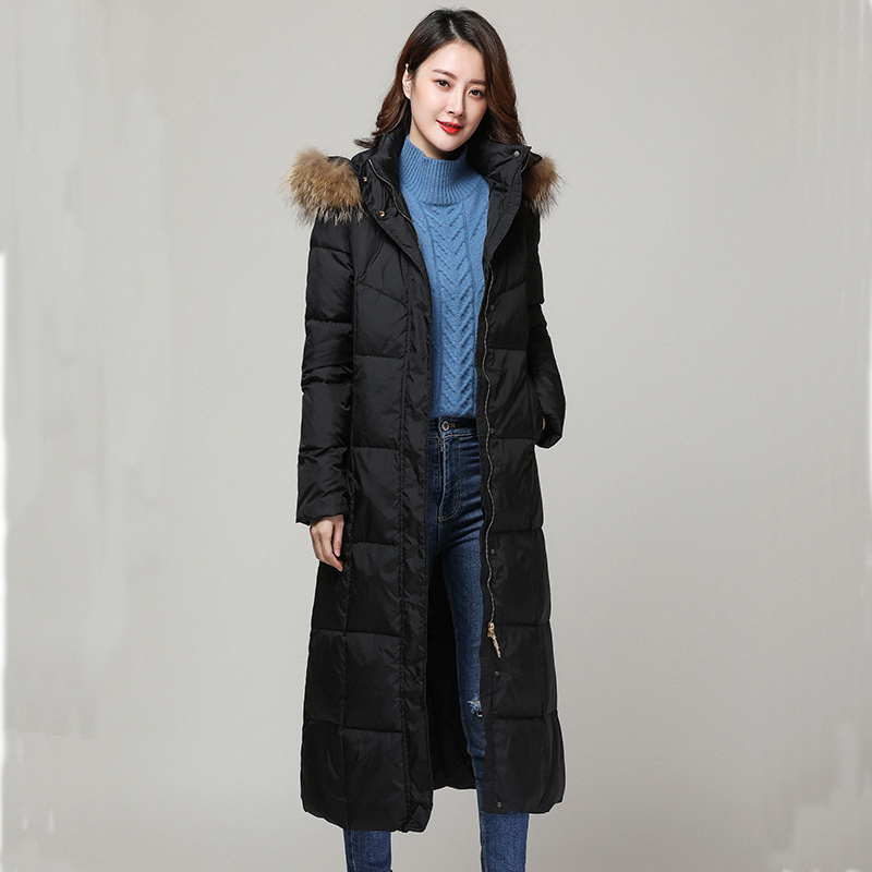 Winter Female Jacket With Raccoon Fur Hooded 90% Duck Down Coat Women Clothes 2020 Korean Warm X-Long Coat Hiver LW1398