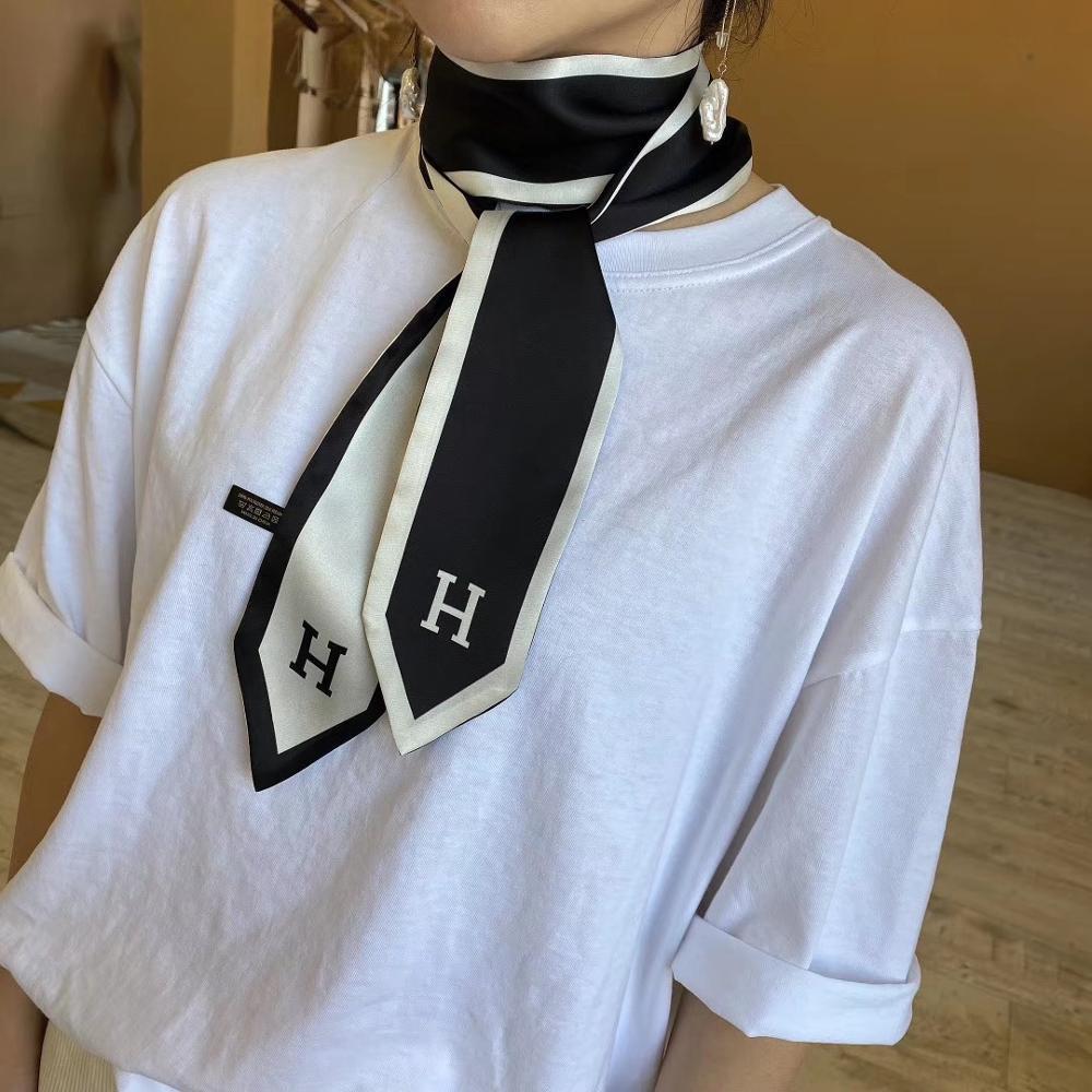 2020 New 7x130cm Long Skinny Hair Neck Tie Collar Scarf Ladies Flower Printed Silk Satin Head Handbag Ribbon Scarfs For Women