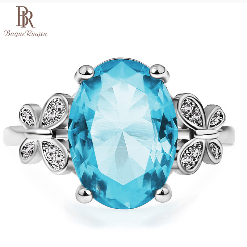Bague Ringen 100% real Silver 925 Ring With 10*14MM Aquamarin Gemstone Women Engagement Wedding Ring Fine Jewelry Gift Size 6-10