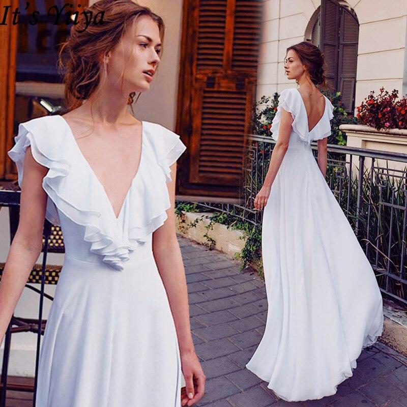 It's Yiiya 2019 Evening Dress Short Sleeve Elegant Ruffles Formal Dresses Sexy V-Neck Backless Slim Split Robe De Soiree E923