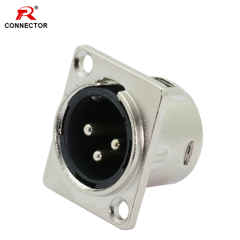 8pcs 3Pins XLR Connector, Male Plug Socket, Panel Mounted Type, Chassis Square Shape, Zinc Alloy Shell