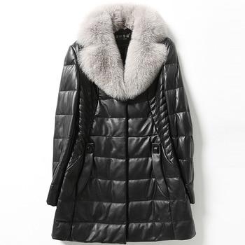 Зимняя мода высокое качество черный плюс размер 4xl 5xl 6xl теплое толстое женское кожаное пальто из овчины средней длины куртки с карманами