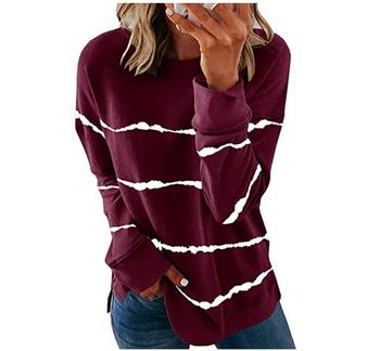 2020 New Autumn Tops 5XL Large Size Women Tie Dye Stripe T Shirt Casual Long Sleeve Oversized Loose Tee Shirt Fashion Ladies Top - style5, M