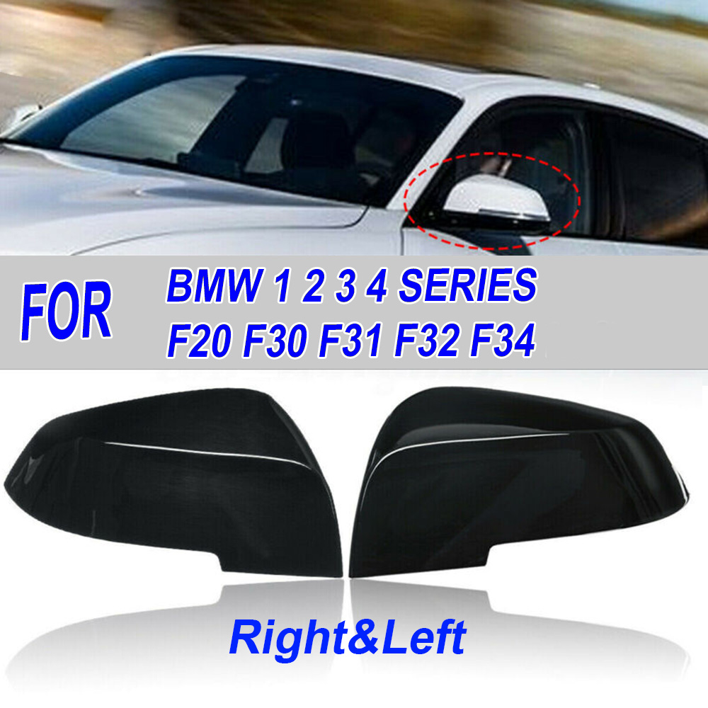 Купить с кэшбэком 1 Pair Car Rear View Wing Mirror Cover For BMW 1/2/3/4 SERIES F20 F30 F31 F32 F34 Gloss Black ABS Rear View Mirror Cover Cap