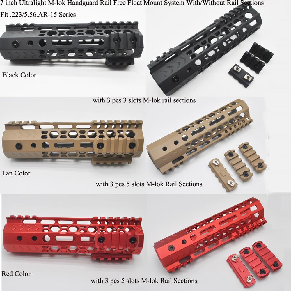 TriRock 7'' Inch M-lok Handguard Rail Free Float Mount System With/without 3 Pcs Mlok Rail Section