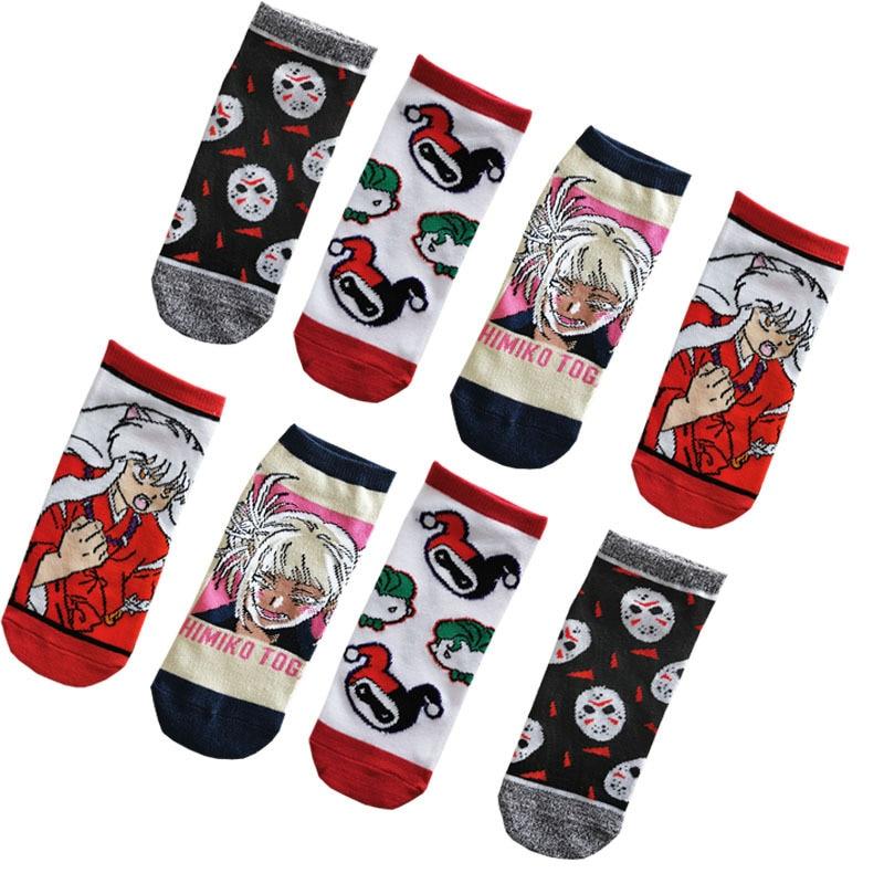 Harajuku Style Women Socks Cute Funny Comic Character Pattern Socks Fashion 2020 Spring Short Ankle Socks Women Casual Dress
