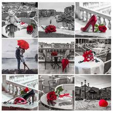 2020 nowy krajobraz 5D diament malarstwo czerwony kwiat diament haft czarny i czerwony obraz mozaika Rhinestone Home Decor prezent