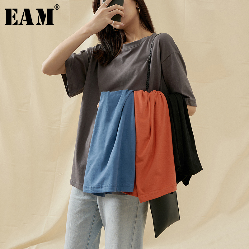 [EAM] Women Multicolor Solid Color Brief Gray Big Size T-shirt New Round Neck Half Sleeve  Fashion Tide Spring Summer 2020 1T602