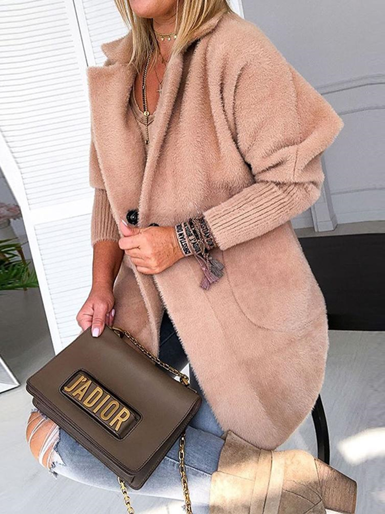 ColourfulWomen Colourful Womens Oversized Solid Open Front Casual Knit Cardigan Outwear