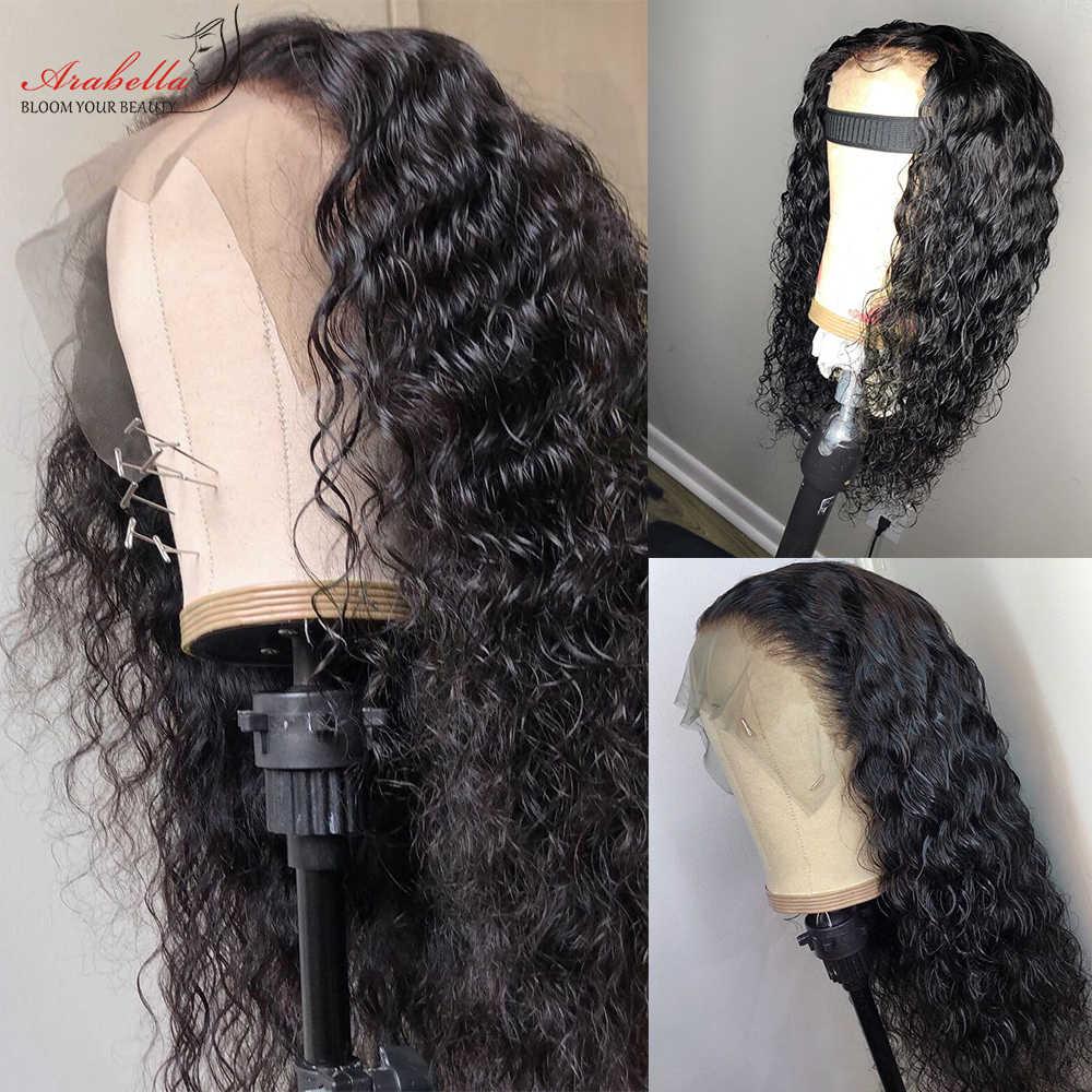 موجة المياه الدانتيل شعر مستعار أمامي 180% الكثافة 13*4 مبيض عقدة أرابيلا شعر ريمي نسبة عالية الدانتيل الجبهة خصلات الشعر المستعار الإنسان