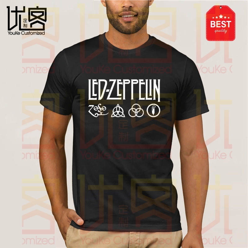 Led-Zeppelin T-Shirt - Classic Rock Band Vintage 1990 Led-Zeppelin T Shirt Men's Women's 100% Cotton Short Sleeves Tops Tee