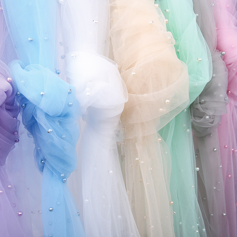 Width 150cmx1m Sequin Pearls Tulle Fabric Pearl Mesh For Wedding Party Dress Skirts Stage Decoration Organza Fabrics Save 50-70%