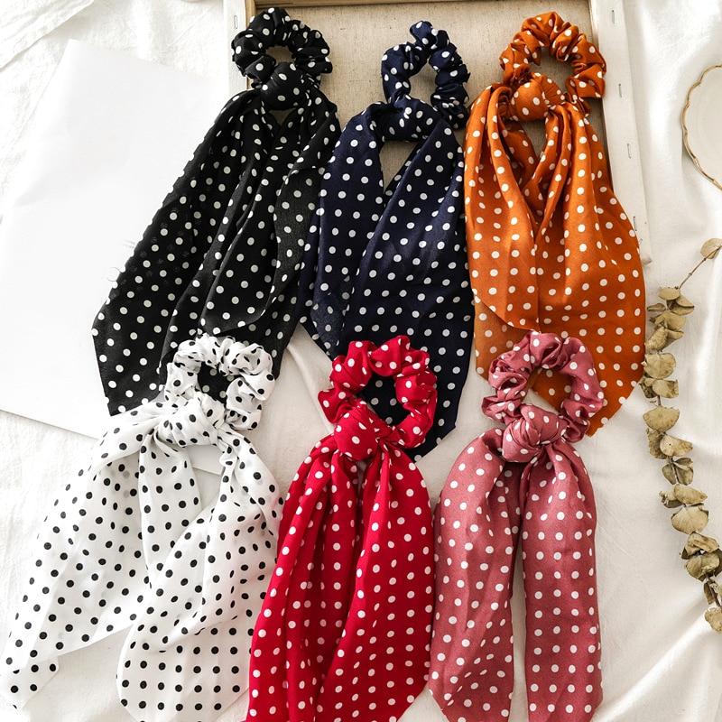 Dot Point Printed Streamers Bowknot Scrunchies Elastic Hair Bands Hair Ties Rope Sweet Women Hair Accessories Girls   Headwear