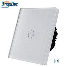 1gang 2way лестницы настенный выключатель, Белый Кристалл Закаленное стекло сенсорный 2way светильник Переключатель ЕС/Великобритании стандартный AC110-250V 1/2/3G Лидер продаж