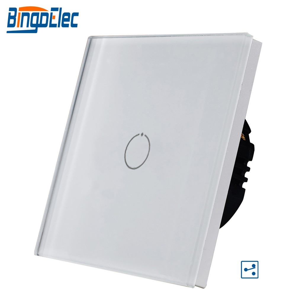 Bingoelec Touch Switch 1 Gang 2 Way Stair Wall Switch Crystall Glass Panel Screen Sensor Light Switch AC 220-240 V