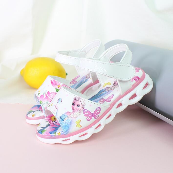 2020 Elsa Sandals Princess Elsa Anna Shoes Print Cartoon Summer Toddler Girl Beach Shoes Ice Snow Queen New Fashion Girl Sandal