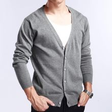 Autumn V Neck Mens Cardigan Sweater Overcoat Businessmen Thin Slim Fit Knitted Sweater Full Sleeved Comfort Cardigan Masculino(China)