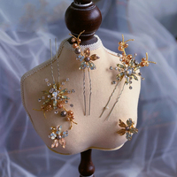 Elegant Rhinestone Woman Hairpins with Earring Brides Hairclips Wedding Headdress Hair Accessory Evening Hair Jewelry