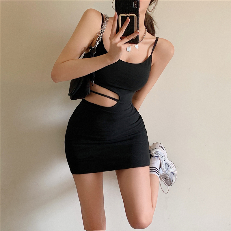 WOMENGAGA Fashion Design Hollow Out Sexy Women Camisole Dress Summer 2021 New Hip Wrap Pullover Irregular Mini Dresses Kroea SD8