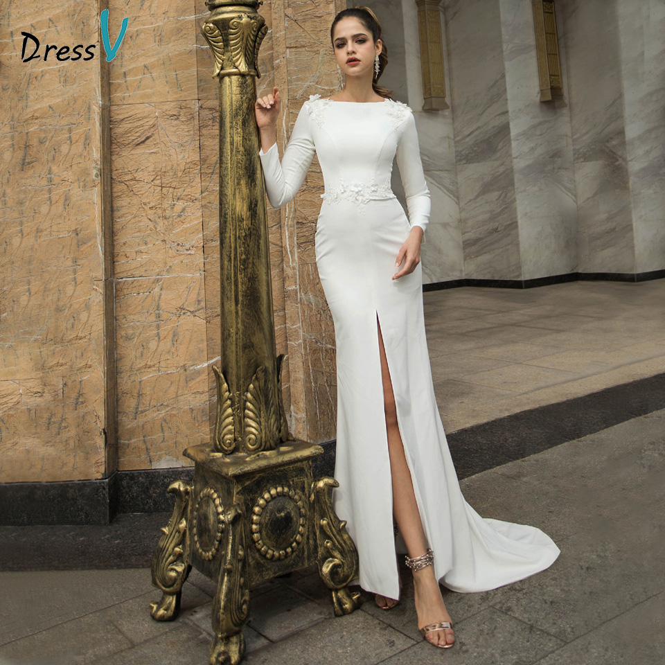 Dressv Scoop Neck Wedding Dress Long Sleeves Appliques Split Front Mermaid Outdoor&Church Wedding Dresses Custom