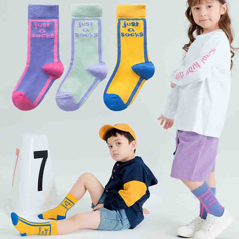 3pairs/lot  Fashion Letters Kids Socks Girls Boyes long Cotton Soft Warm Happy Children 3-12T Calcetines