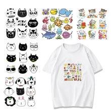 Cartoon Animal Patch Set Iron on Transfer Cute Dog Cat Marine Life Flower Patches for Kids Girl Clothing T-shirt DIY Heat Press цена