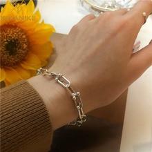 XIYANIKE 925 стерлингового серебра толщиной браслет-цепочка для женщин пара Творческий в винтажном стиле ручной работы браслет с застежкой на де...