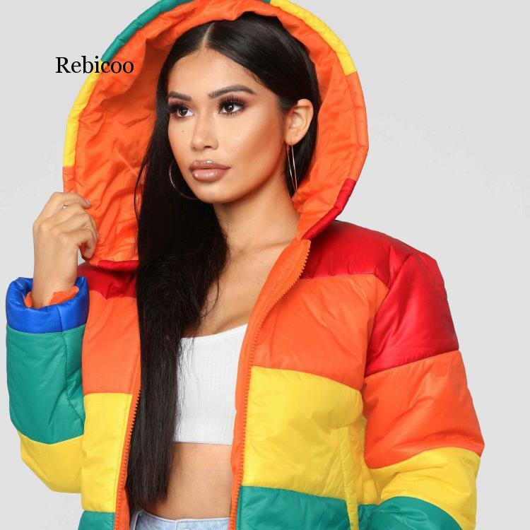 Rainbow Print Warm Puffer Jacket Patchwork Winter Bubble Coat Women Parkas