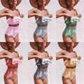 Imanfive Gestreepte Bikini 2019 Nieuwe Collectie Strapless Sexy Bikini Hoge Taille Badmode Vrouwen Ruches Badpak Braziliaanse Biquini