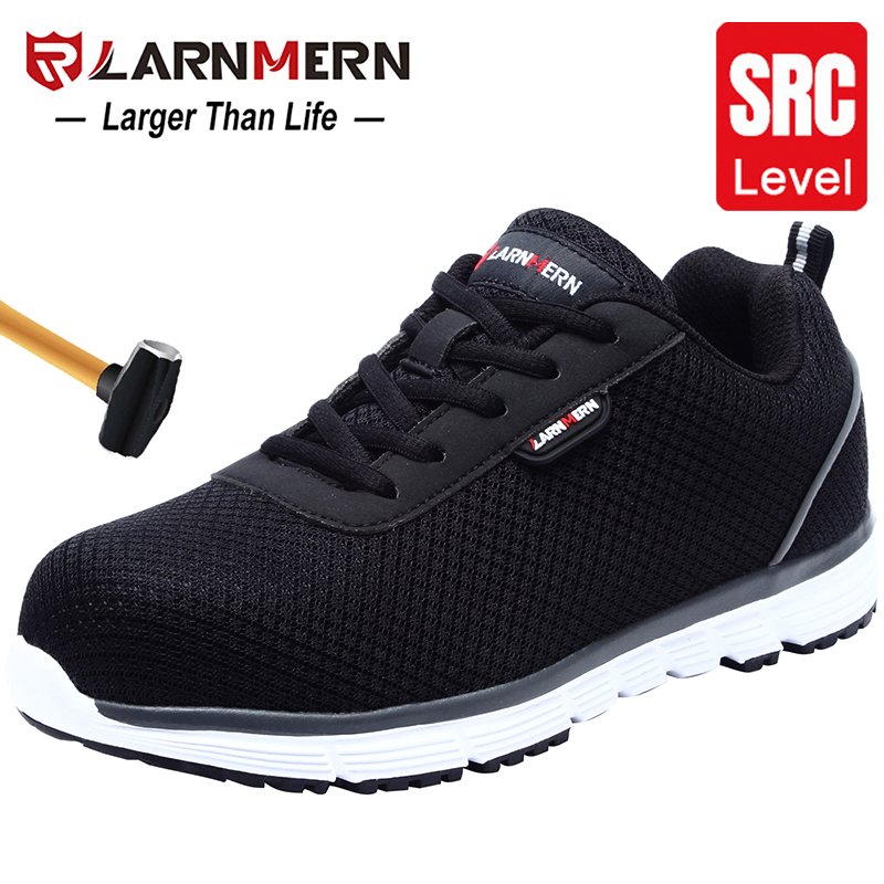 LARNMERN Womens Steel Toe Safety Work Shoes For Women Lightweight Breathable Anti-Smashing Non-Slip Reflective Protective Shoes