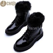 JCHQD bottes Martin pour femme, véritables cheveux, chaussures en fourrure, taille européenne, pour lhiver, qualité supérieure, collection à lacets
