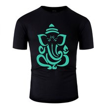 Designs Cute Ganesh Green Tee Shirt For Mens Cotton Classic T Shirt Man Female Big Size 3xl 4xl 5xl Pop Top Tee(China)