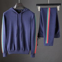 JSBD high end casual sports set men's hooded slim knit cashmere contrast color long sleeve two piece men