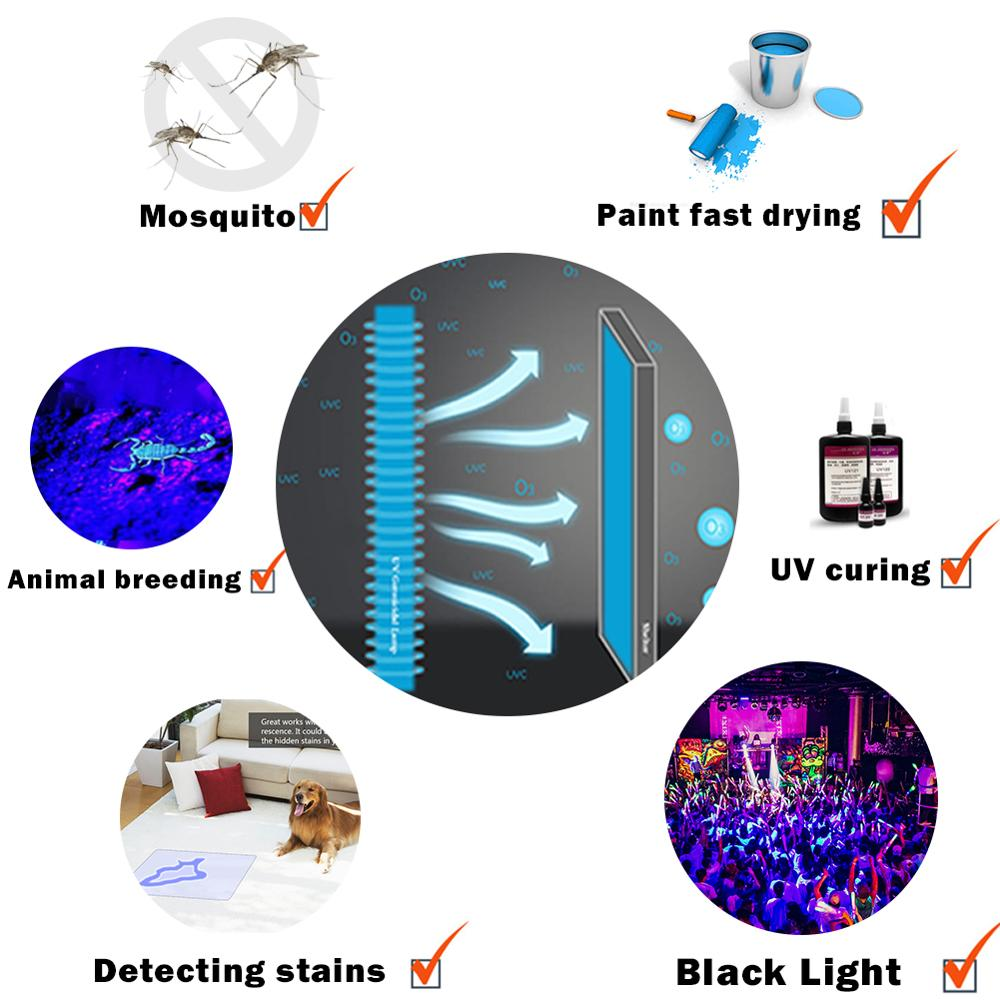 Black Light Effect Stage Bar Haunted House Rays Paint Sterilizer Ink Glass Cure Glue Tube UV 365 395 NM Led Ultraviolet Lamp