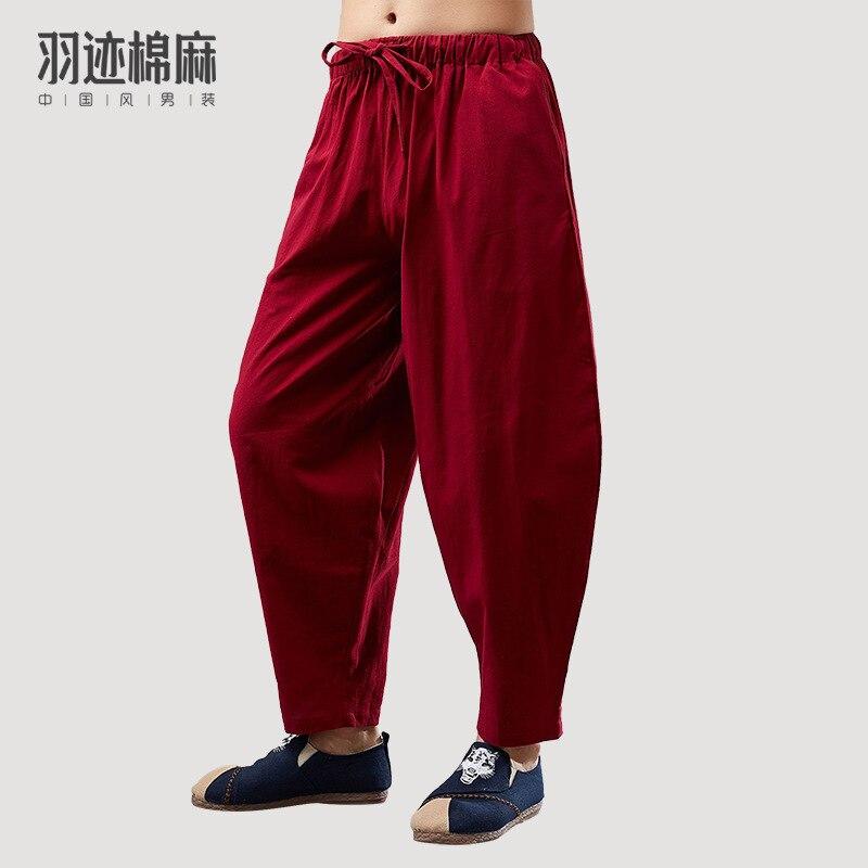 Summer New Style MEN'S Trousers Loose-Fit Capri Pants Men's Casual Pants Harem Pants Chinese Style Cotton Linen Retro Closing Ha