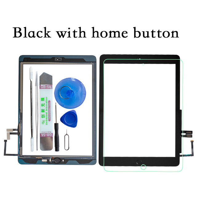 2017 A1822 A1823 Touch Screen For iPad 5th Generation 5 Digitizer  Front Glass With home button +cable+Tools+Tempered Glasss 2