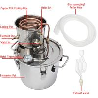 5 GAL/22L Copper Moonshine Ethanol Alcohol Water Distiller Stainless Boiler Kitchen Brewing +Thumper keg+Condenser Keg