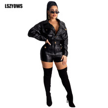 Black PU Leather Playsuits Long Sleeve Faux Leather Rompers Womens Jumpsuit 2020 Turn-Down Collar Button Bodycon Casual Playsuit(China)