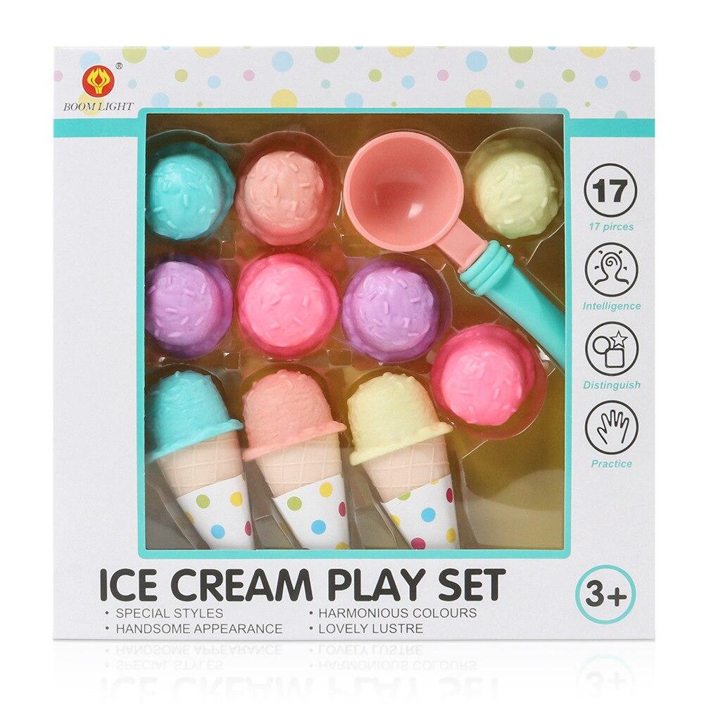17PCS Ice Cream Play Set Pretend Play Toys Educational Kid Kitchen Set Fun Miniature Toys For Children